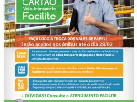 Nova data para a troca dos vales de papel pelo Cartão Transporte Facilite