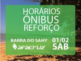 Horários Carro Extra Barra do Sahy - sábado, dia 01/02