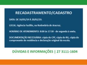 CARTÃO ESTUDANTE 2019 - Recadastramento